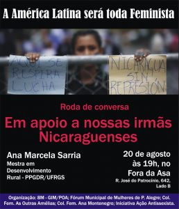 Roda de Conversa Em Apoio A Nossas Irmãs Nicaraguenses - 20.08.18