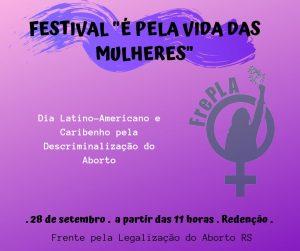 Festival É Pela Vida das Mulheres - Cronograma
