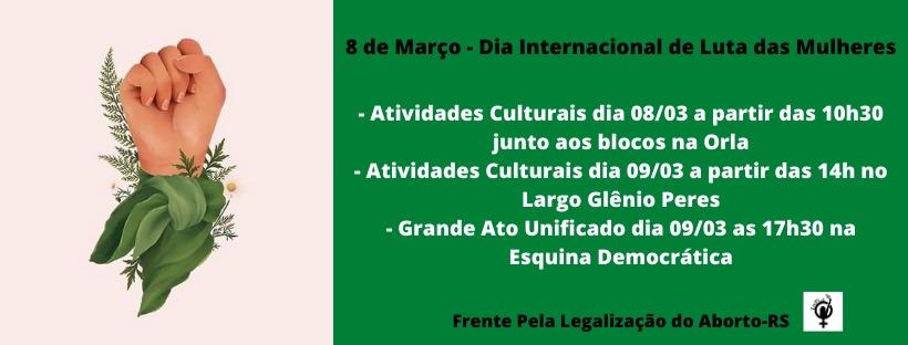 Dia Internacional de Luta das Mulheres - Atividades em Porto Alegre