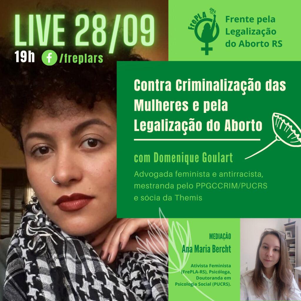 LIVE pela Descriminalização DO ABORTO 28/09, às 19h